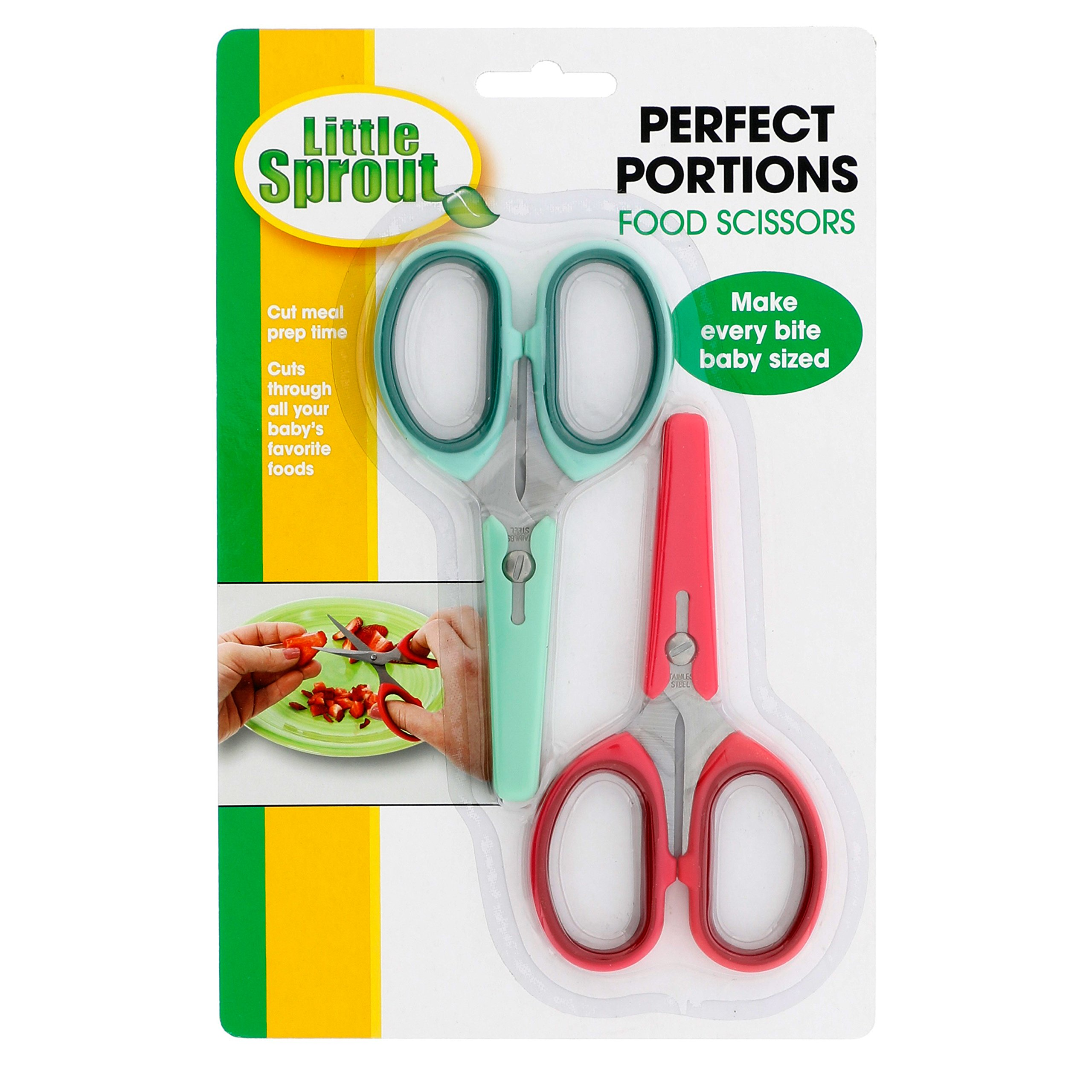 Baby Food Scissors 2 Pack w Covers- Safety Stainless Steel Shears to Make Every Bite Baby Sized and Safe by Sprout Cups