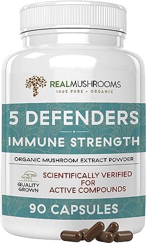 5 Defenders Mushroom Immunity Support Mushroom Blend, 500g Chaga, Reishi, Shiitake, Maitake Turkey Tail Mushroom Capsules, Organic Vegan Non-GMO Immune System Booster 90 Caps No Fillers