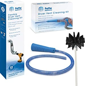 Fette Appliance - Dryer Vent Cleaning Kit Contains Vacuum Hose Attachment + Hose - Lint Remover, Power Washer Dryer Vent Cleaner + Flexible Dryer Vent Brush - Lint Remover, Extends up to 12 Feet