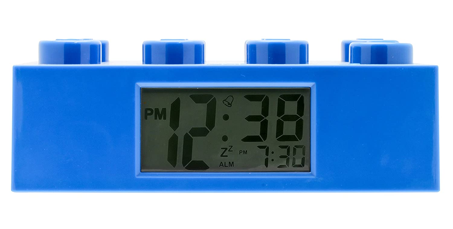 LEGO 9002151 Blue Brick Kids Light Up Alarm Clock | blue | plastic | 9.5 inches tall | LCD display | boy girl | official