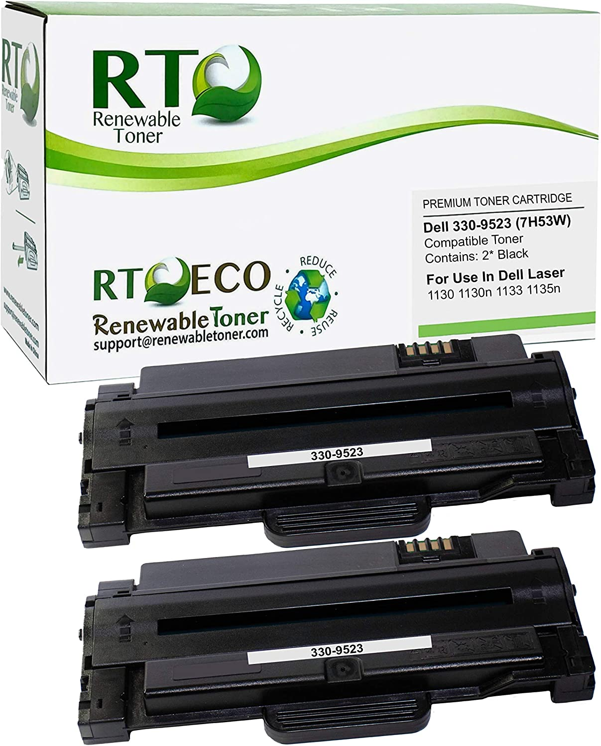 Renewable Toner Compatible Toner Cartridge Replacement for Dell 330-9523 7H53W Laser 1130 1130n 1133 1135n (Pack of 2)