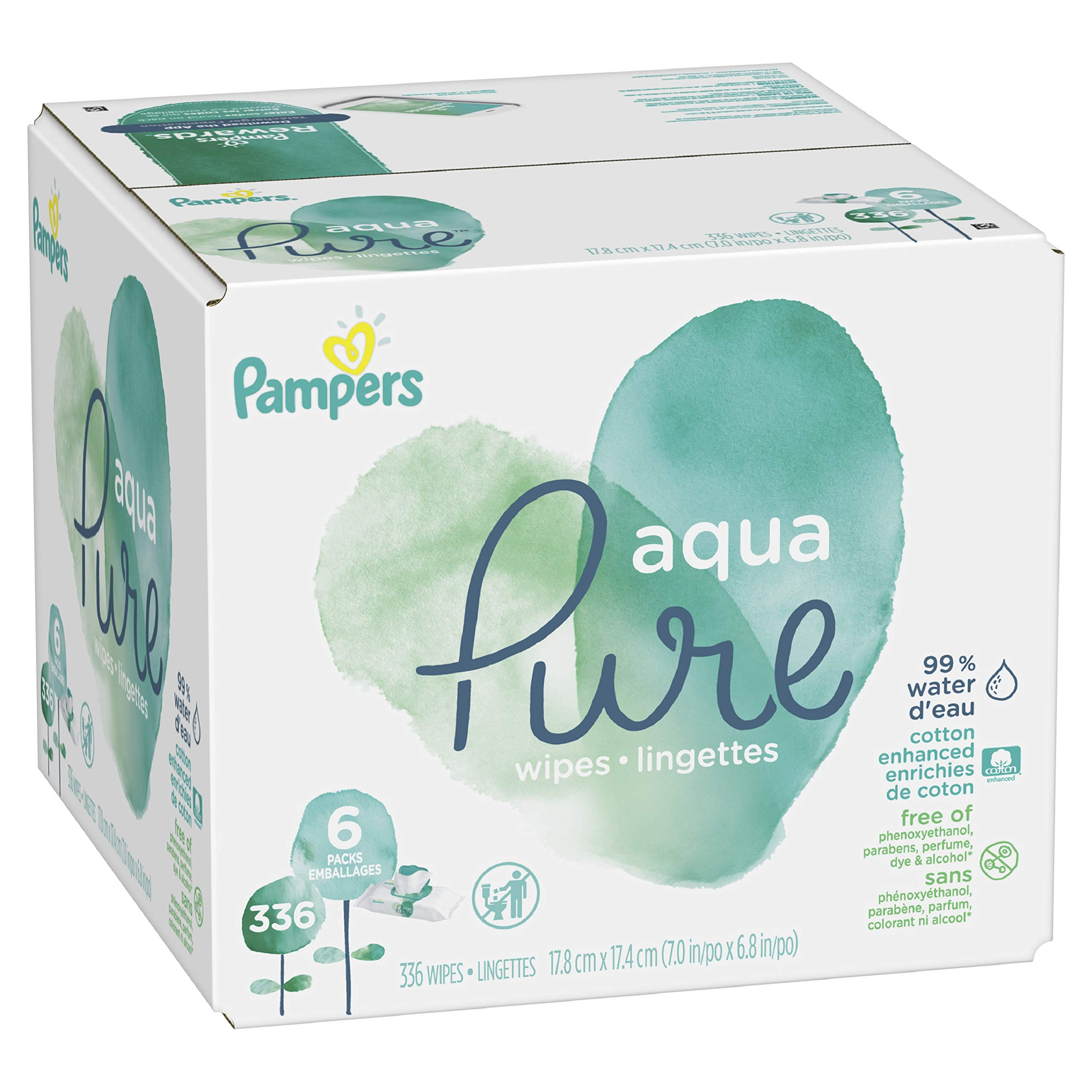 Pampers Aqua Pure 6X Pop-Top Sensitive Water Baby Wipes - 336 Count