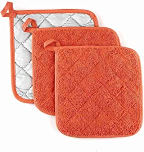 VEIKERY Oven Pot Holders 100% Cotton, 7x7 inches, 3 Packs, Perfect for Cooking, Baking, Serving, BBQ (Orange)