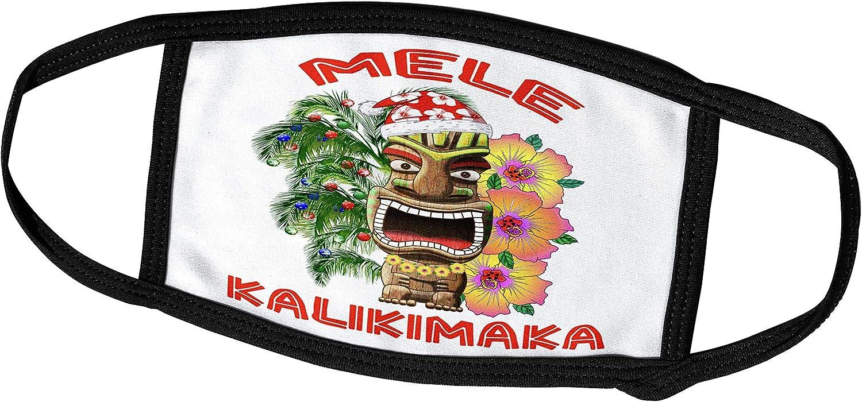 3dRose Macdonald Creative Studios – Mele Kalikimaka - Santa Claus Tiki Mele Kalikimaka, Hawaiian for Merry Christmas - Face Masks (fm_295375_2)