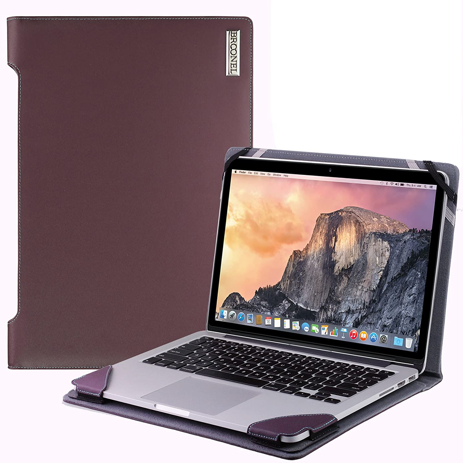 Broonel London - Profile Series - Purple Vegan Leather Luxury Laptop Case Compatible with The Acer Aspire V13 (V3-371)