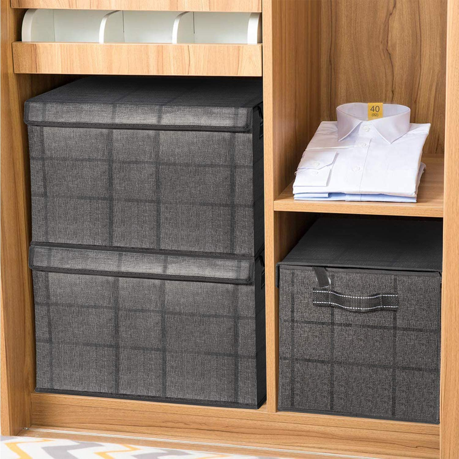 Boxes Organizer with Lids and Handles for Home Office Closet Toys Clothes Linen Sundries VENO 2 Pack Foldable Large Storage Bins Made of Recycled Material Beige//Windowpane Collapsible Cubes