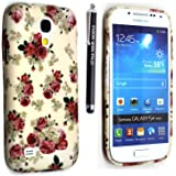 GSDSTYLEYOURMOBILE {TM} SAMSUNG GALAXY S4 MINI i9190 SILICONE SILIKON CASE SKIN GEL TPU TASCHE Hülle COVER + STYLUS (Roses on White)