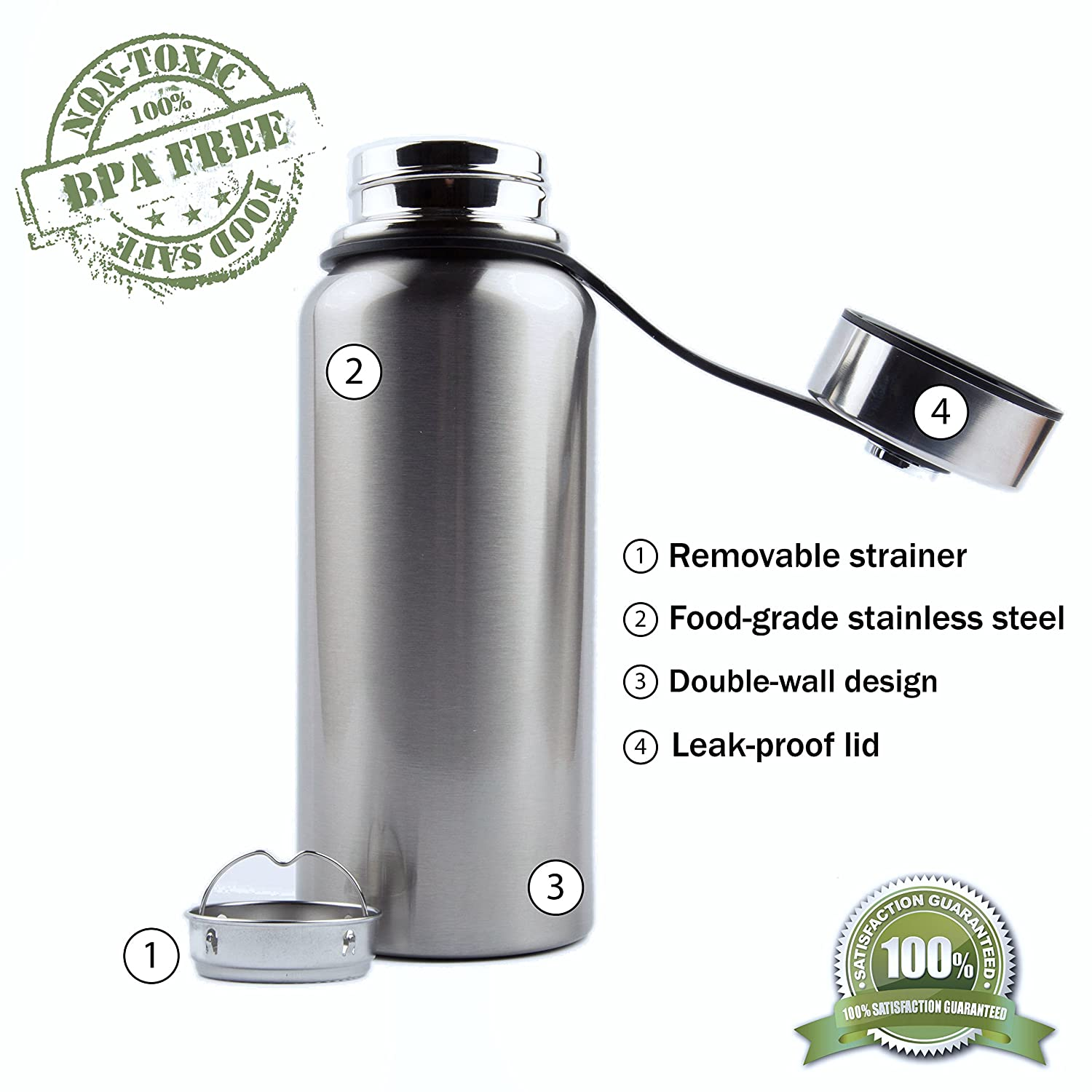 66b81c2389 Vacuum insulated large water bottle - non toxic, BPA-free, durable stainless  steel, leakproof double walled design, wide mouth, anti-slip bottom, ...