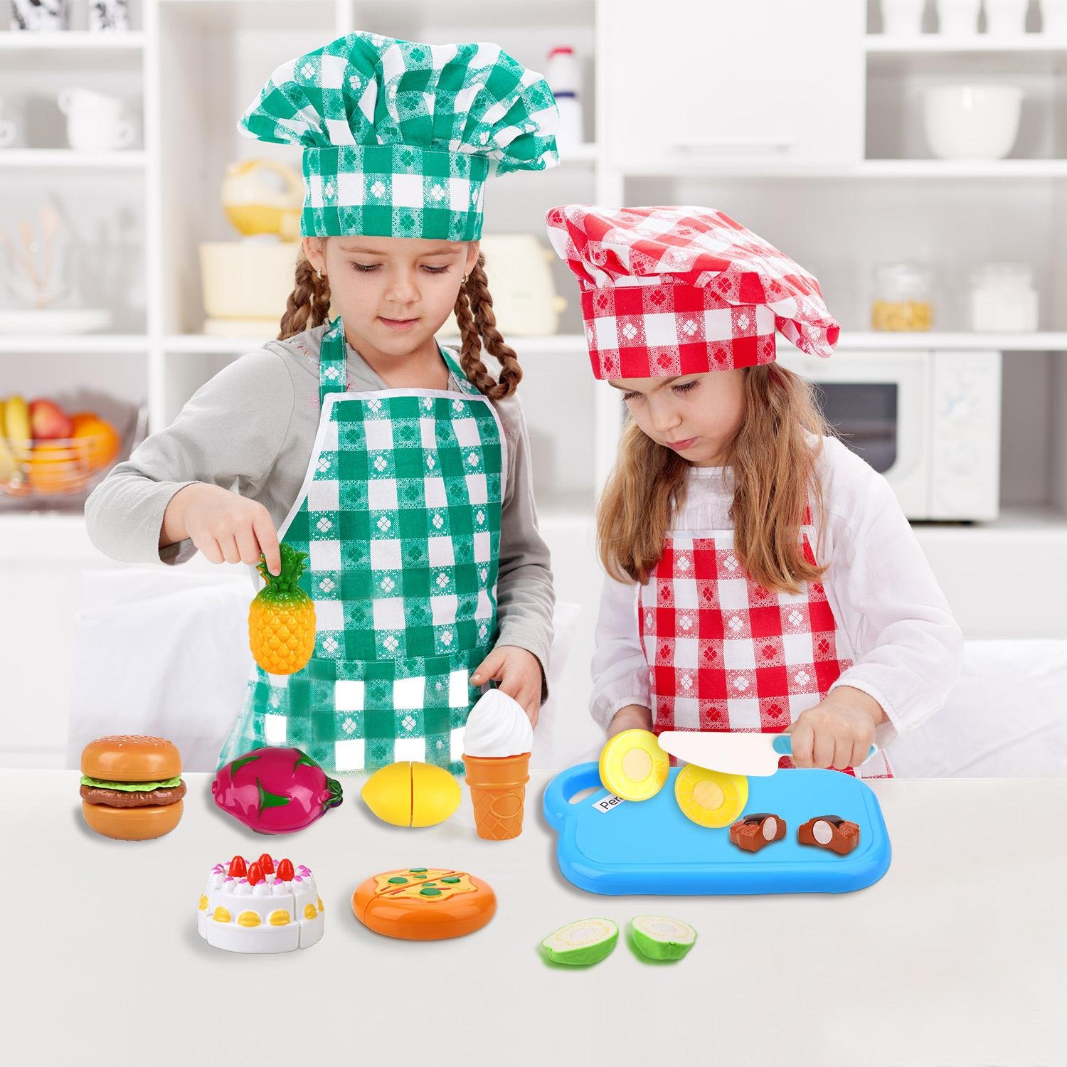 Play Food Cutting Set for Kids Kitchen Play Game with Plastic Velcro Vegetables Fruits Hamburger Cake Cutting Board Set and Apron by Peradix