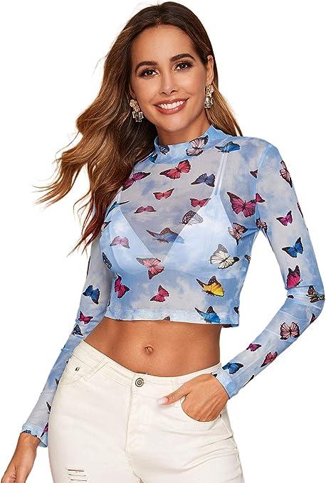 SOLY HUX Mujer Transparente Mangas Largas Camiseta Blusa Elegante Moda Oficina Casual: Amazon.es: Ropa y accesorios