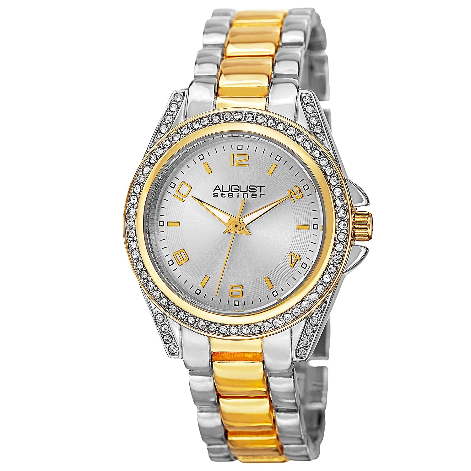 August Steiner Women s Crystal Accented Watch – Genuine Crystals On Bezel and Lugs, Japanese Quartz Movement On Stainless Steel Bracelet – AS8149
