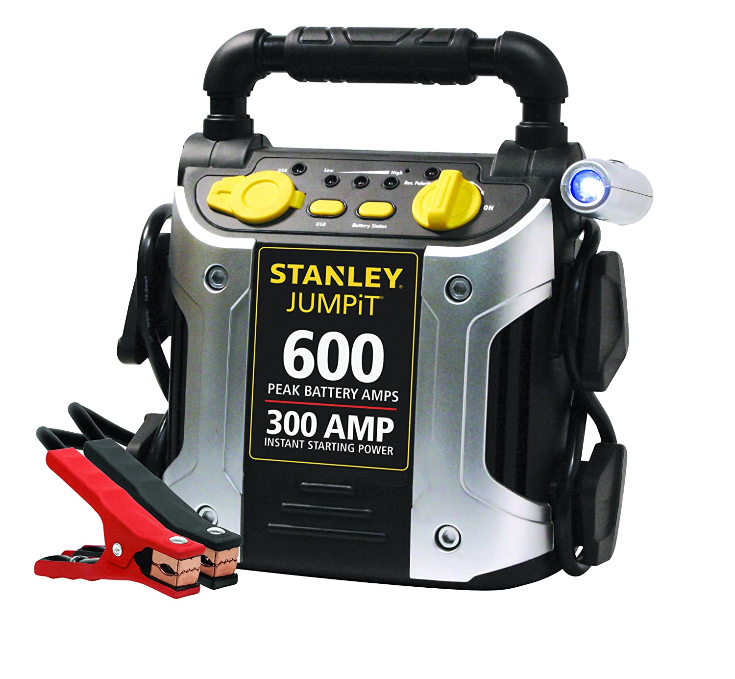 Stanley 300 Amp Jump Starter, 600 Peak Amps of Power, Built-in 120V AC Charger, LED Emergency Light, Reverse Connection Warning,