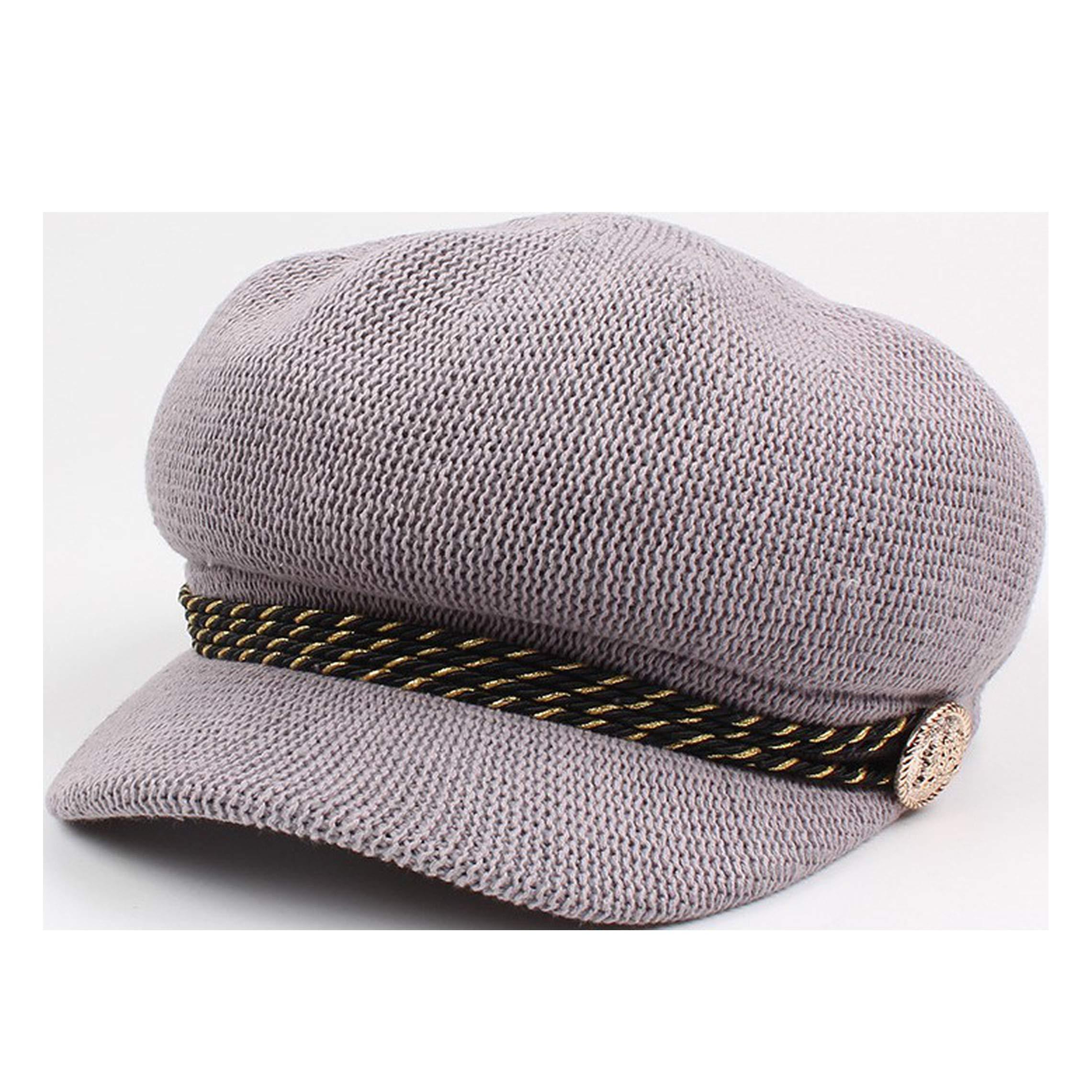 Rivet String Summer Newsboy Cap for Women Girls Breathable Octagonal Sun Hats Fashion British Berets Gray