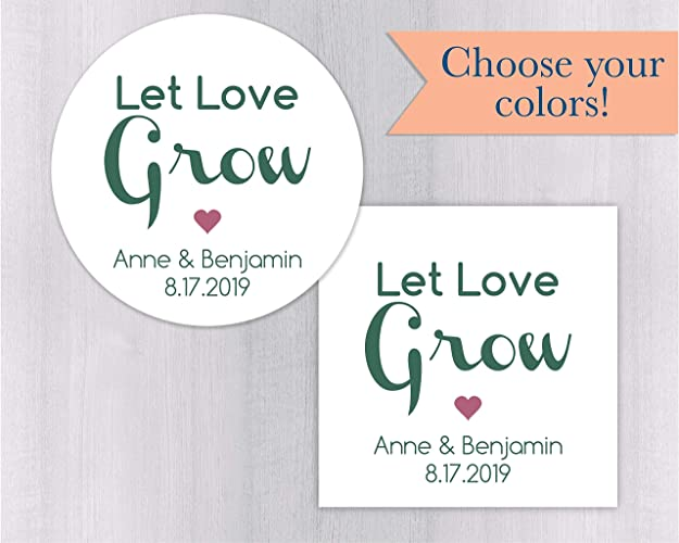 let love grow stickers bridal shower favor stickers wedding favor stickers 021