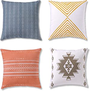 Boho Throw Pillows for Couch, Bohemian Pillow Covers 20x20 inches for Sofa or Bedroom, Set of 4 Decorative & Modern Cushion Cases for Home Decor or Farmhouse, 100% Cotton, Reef Set