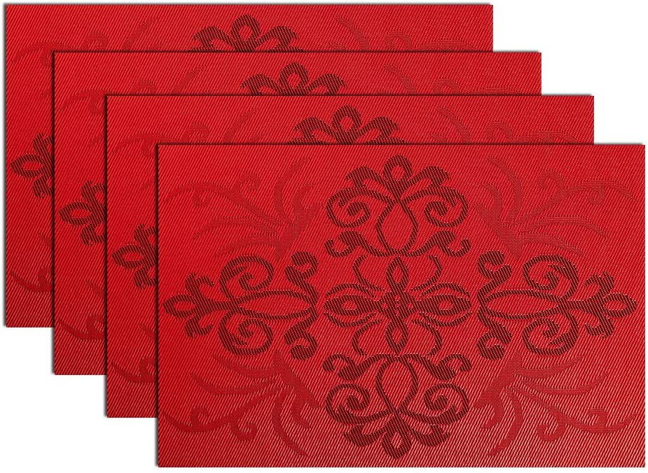 MrXLWhome Red Placemats, Woven Vinyl Placemat