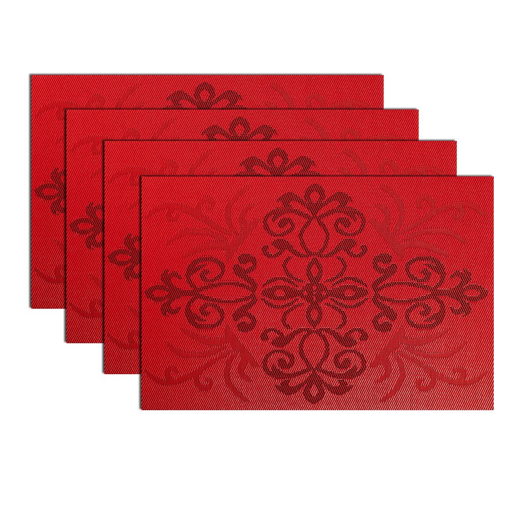 MrXLWhome Red Placemats Set of 4, Upgrade Placemats Heat-Resistant PVC Placemat, Dining Table, Woven Vinyl Kitchen Place Mats, (Red Chinese Knot)