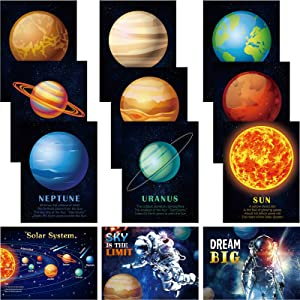 12 Pieces Solar System Educational Teaching Posters Laminated Kids Space and Planets Posters Print WallChart Art for Toddlers Classroom Bedroom 10.6 x 14.1 Inch