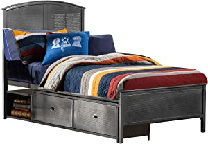 Hillsdale Furniture Urban Quarters Panel Storage Bed Set with Footboard Bench Twin Black Steel and Antique Cherry Finished Metal