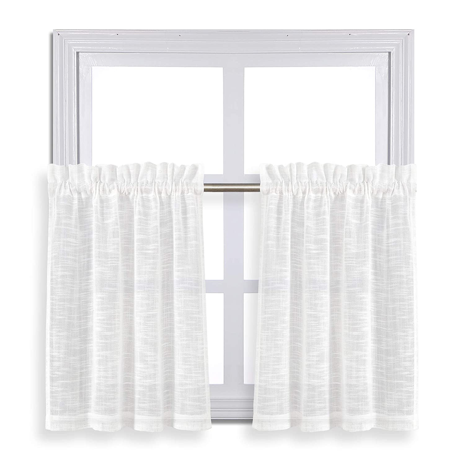 Zceconce Sheer Linen Study Curtains for Small Window Curtain Set 24 Inch Length Silvery Thread Checkered Design on White Voile Curtains Total Size 72 Inch Wide (36