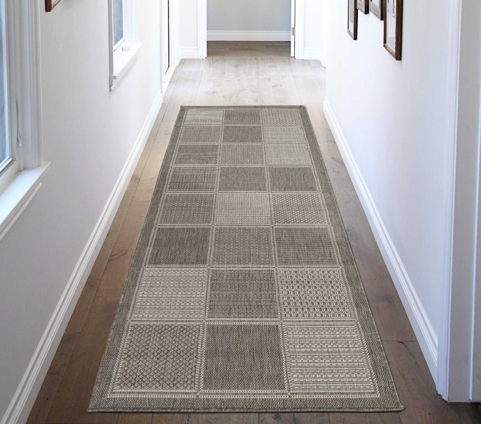Ottomanson Jardin Collection Contemporary Boxes Design Indoor/Outdoor Jute Backing Runner Rug, Grey, 2'7'' x 7'0''