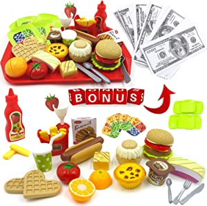 hallodo Burger Fast Food Pretend Play Food Set in Gift Box, Play Kitchen for Toddlers and Kids with Stackable Burger and Bonus Bank Notes, Hamburger Toy Set for Girls and Boys Ages 3, 4, 5, 6, 7