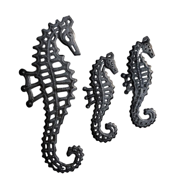 "Metal Steel Seahorse Family, Sea Life Metal Home Decor, Indoor or Outdoor, Beach Themed Art, Handmade in Haiti 2.5"" X 7.5"", 4.5""X 13"""
