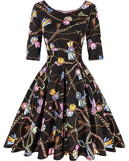 bbonlinedress Women's 1950s Vintage Retro Bowknot Floral