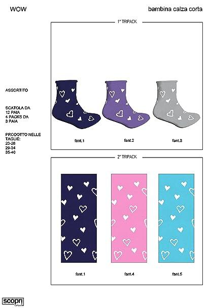 3 calcetines tobilleros niña (wow) Scopri (29-34, azul,lila