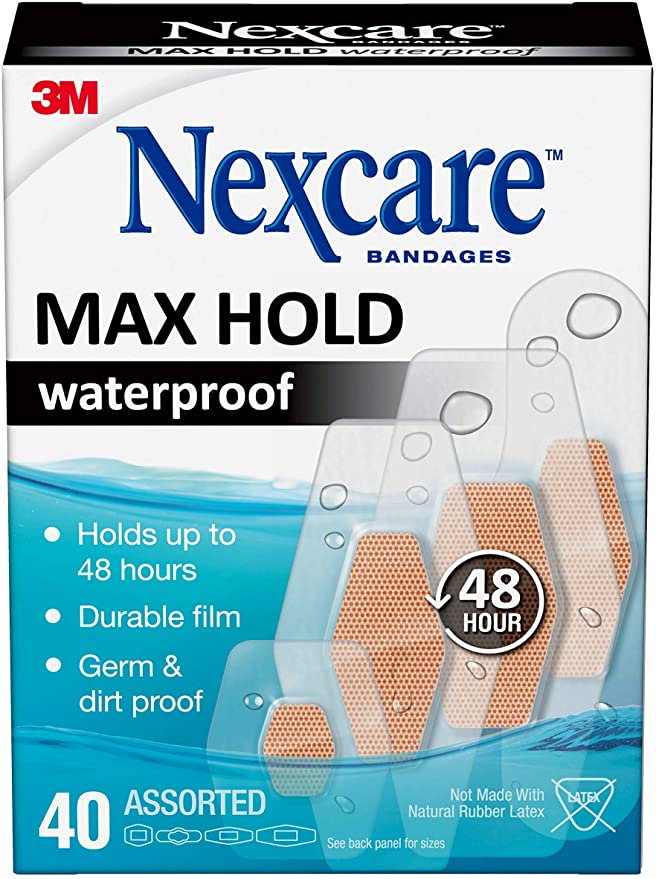 Nexcare Max Hold Waterproof Bandages, Clear, 40 ct Assorted, Transparent