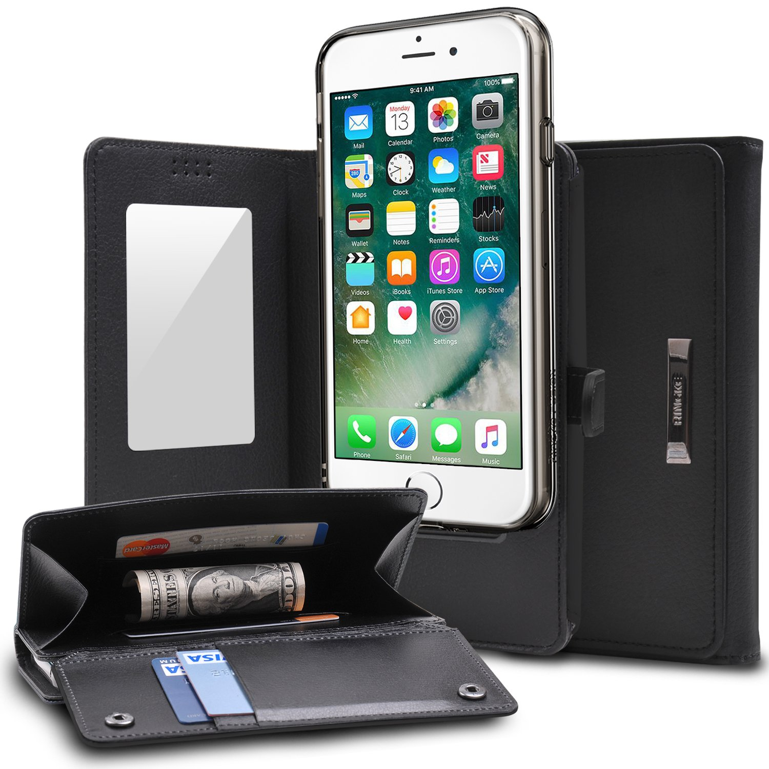 Ringke Wallet Compatible With Apple Iphone 7 8 Rearth Edge Black Phone Case Full Purse Camera Slide Card Slot Holder Premium Pu Leather