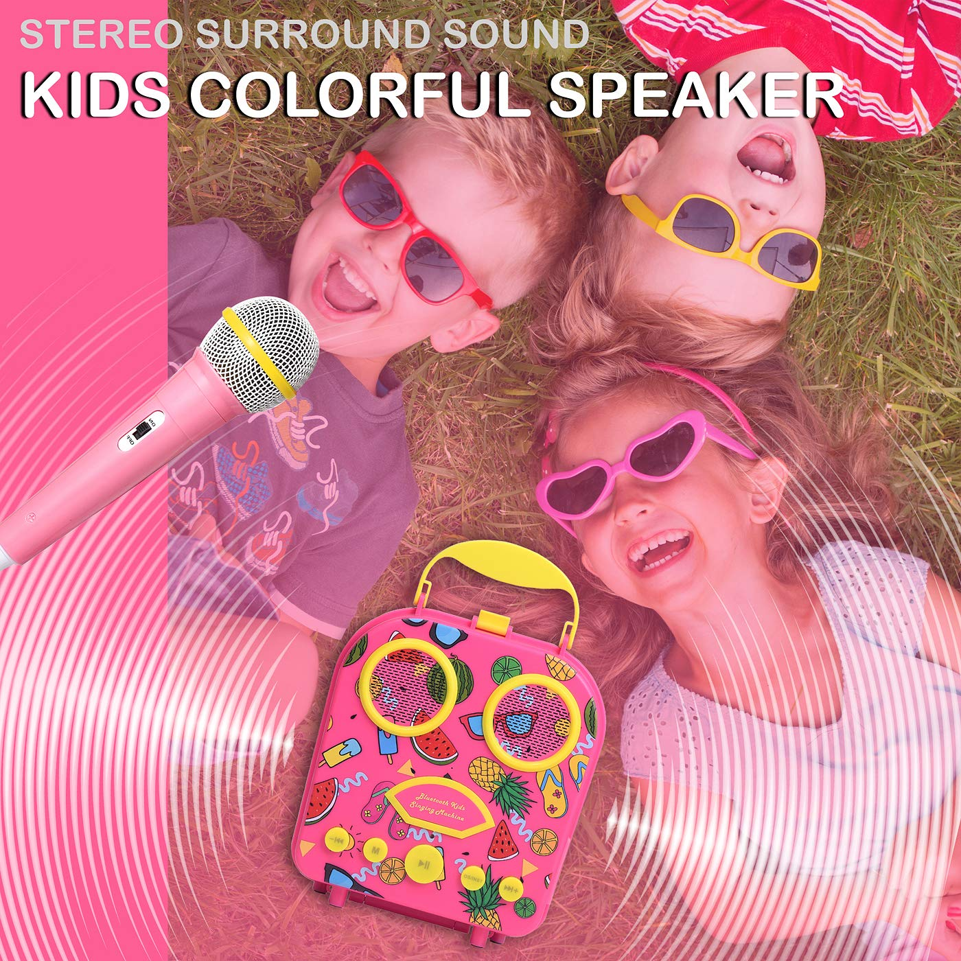 Bluetooth Speaker Children's Karaoke Speaker Portable Microphone Beach Handbag Karaoke Bluetooth Speaker Wireless Cartoon Speaker for Kids for Indoor Outdoor Travel Activities with Microphone (Pink) by HowQ (Image #5)