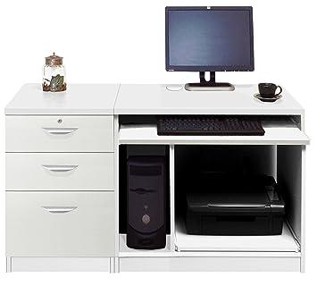 Home Mobiliario de Oficina UK Ordenador estación de Trabajo Mesa cajones archivadores (Kids Juego de Escritorio, Madera), Color Blanco Satinado, Perfil, ...