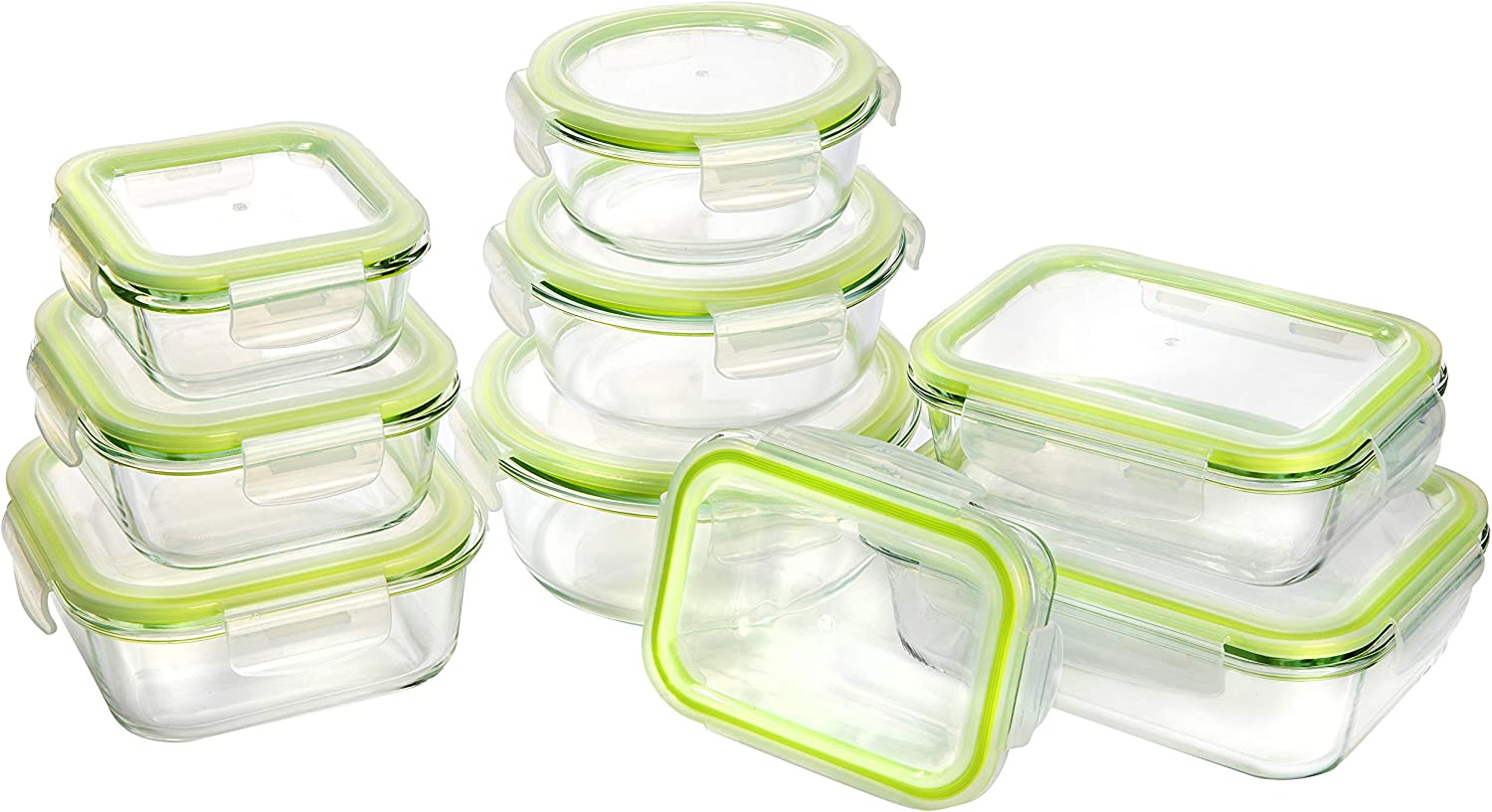 Bayco Glass Storage Containers with Lids, 9 Sets Glass Meal Prep Containers Airtight, Glass Food Storage Containers, Glass Containers for Food Storage with Lids - BPA-Free & Leak Proof(Green)