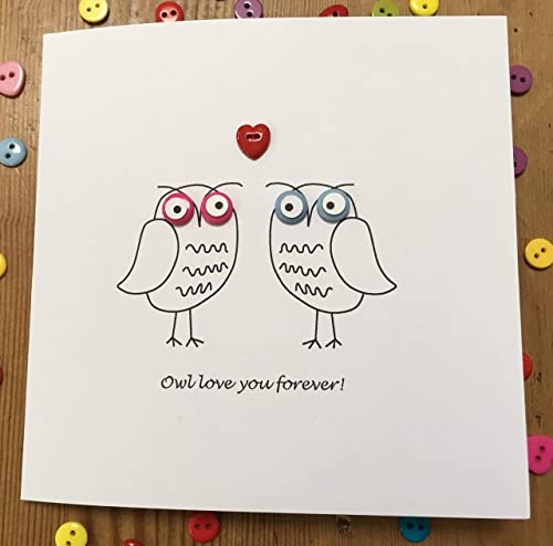 Valentines Day Card Happy Anniversary Happy Valentines Day Handmade Owl Card Owl Love Card Owl Card Handmade Valentines Day Card