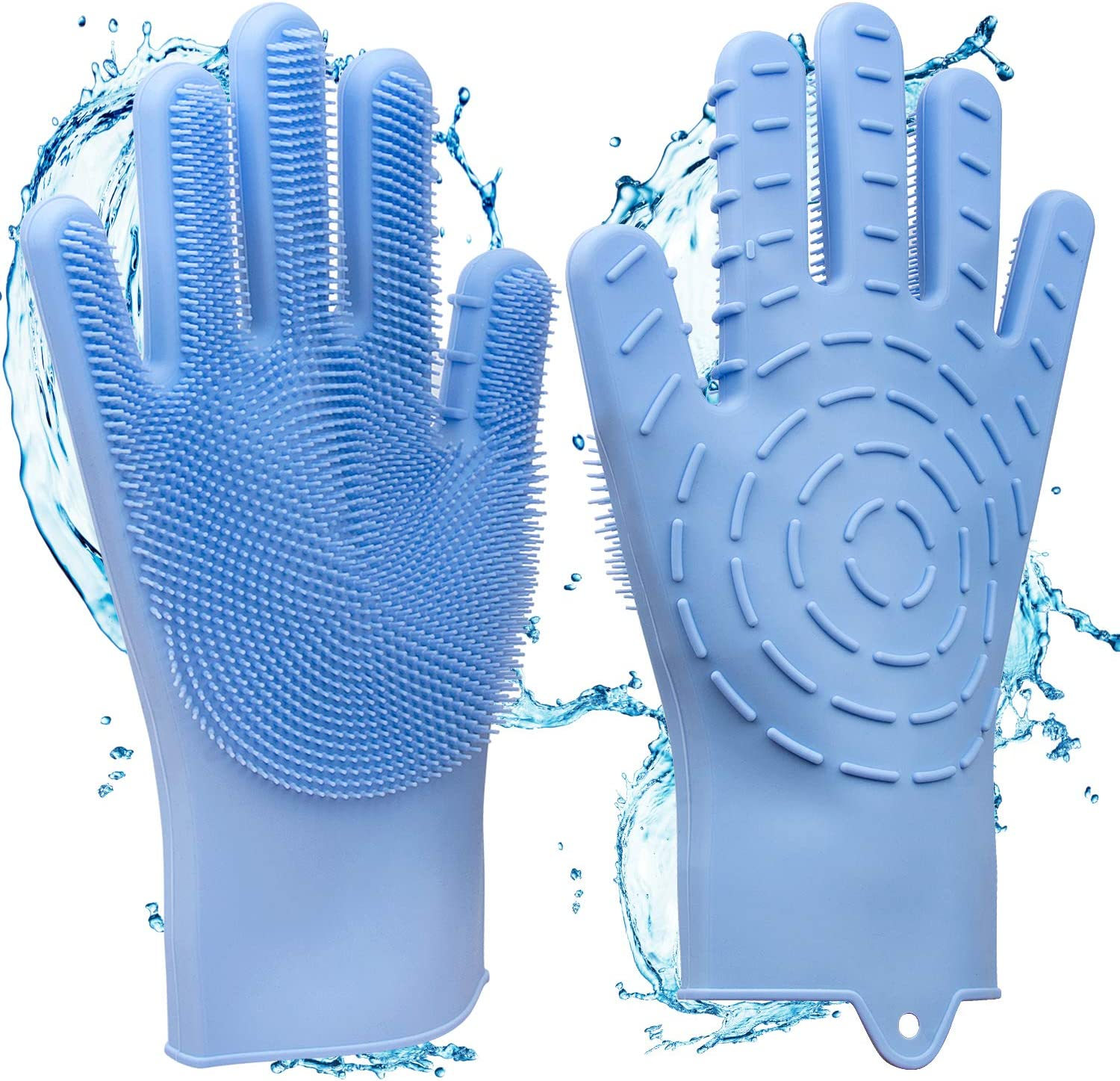 2 in 1 Magic Silicone Gloves, Dishwashing Cleaning Gloves & Heat Resistant Oven Gloves, with Wash Scrubber Non-Slip Design Great Kitchen Tool, for Dish Washing Car Washing Pet Hair Care, Blue