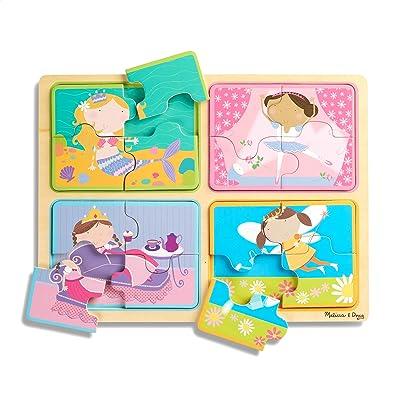 Melissa & Doug Natural Play Wooden Puzzle: Little Princesses (Four 4-Piece Princess Puzzles): Toys & Games
