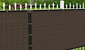 Patio Paradise 6' x 12' Brown Fence Privacy Screen, Commercial Outdoor Backyard Shade Windscreen Mesh Fabric with Brass Gromment 90% Blockage- 3 Years Warranty (Customized