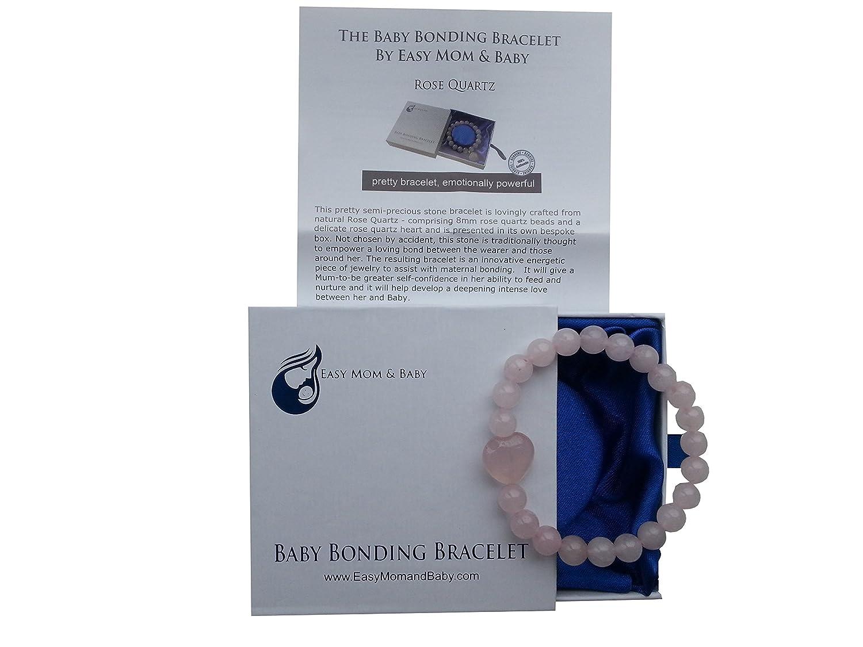 neues Design dient zur Schaffung einer Verbindung beim Stillen Rosenquarzperlen Easy Mom and Baby Armband f/ür Baby und Mutter
