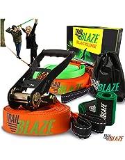 Complete Slackline Kit with Training Line - Tree Protectors + Ratchet Cover Tightrope Slackline Beginner Kit - Easy Setup 15 Metre Slack Line Set