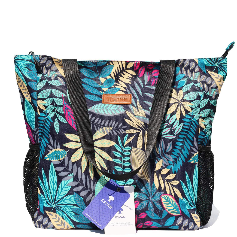 Original Floral Water Resistant Large Tote Bag Shoulder Bag for Gym Beach Travel Daily Bags Upgraded ([V] Blue leaf)