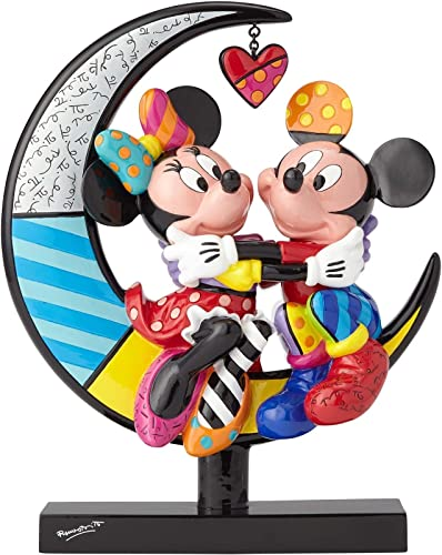 Enesco Disney by Britto Mickey and Minnie on Moon, 9.25 Stone Resin Figurine