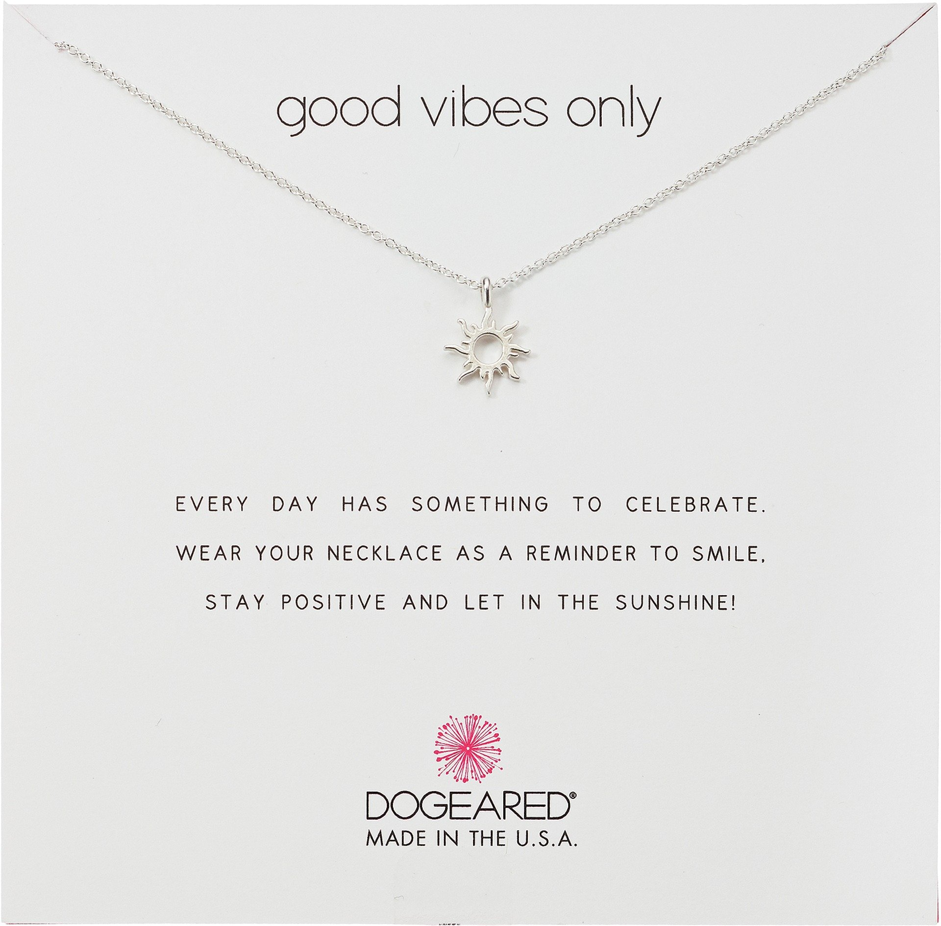Dogeared Reminders- Good Vibes Only Sterling Silver Sun Charm Necklace, 16''+2'' Extender