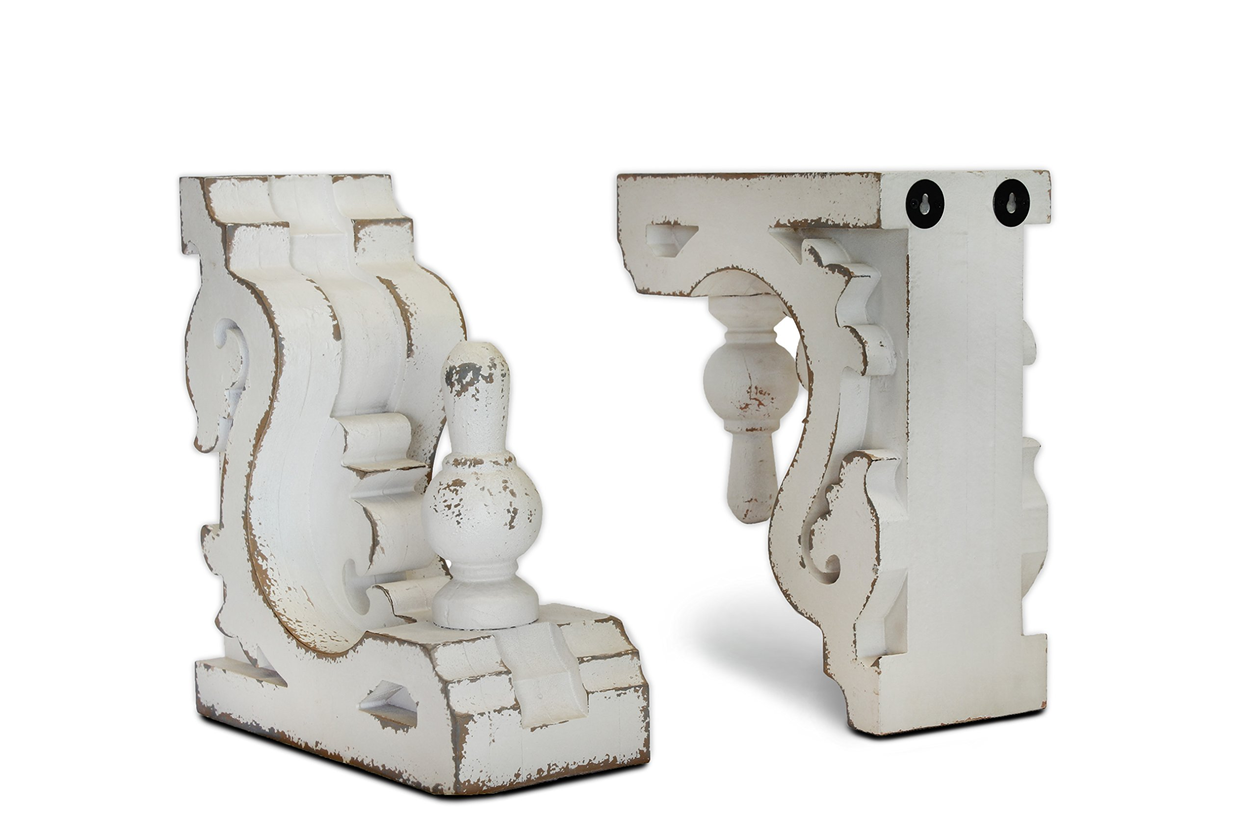 Urban Legacy White Bookends or Sconces, Large (Corbel, Shelf Brackets) (with Stem)