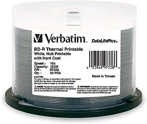 Verbatim BD-R 25GB 16X DataLifePlus White Thermal Printable, Hub Printable - 50pk Spindle - 97338
