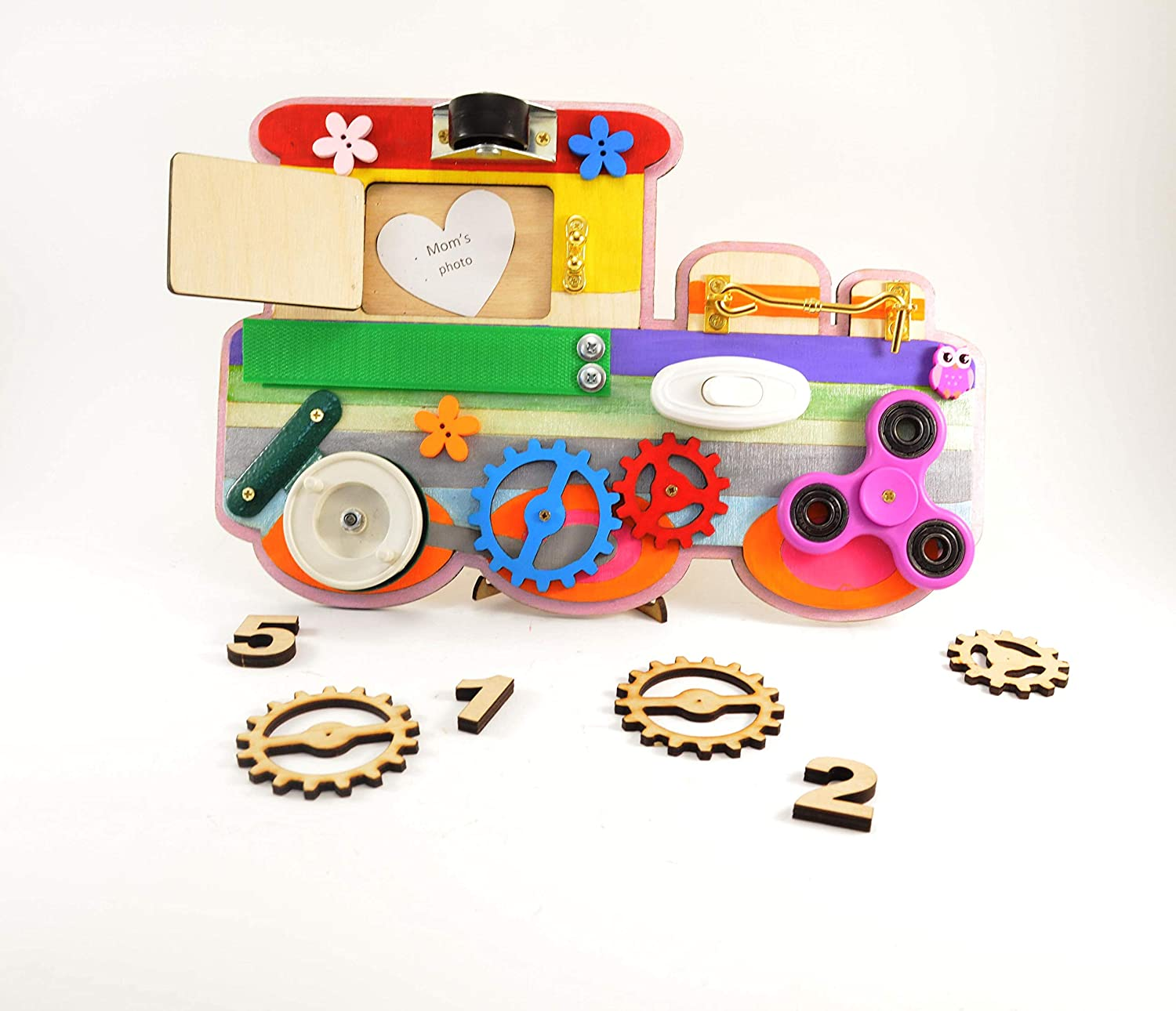 Train busy board Baby learning toy Toddler gifts Travel toys Educational Motor skills Montessori for baby Waldorf for toddler Busy mom Play