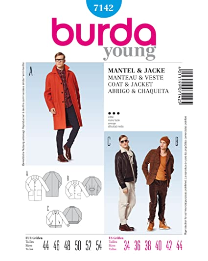 Amazon.com: Burda Men\'s Coat and Jacket Sewing Pattern 7142: Arts ...