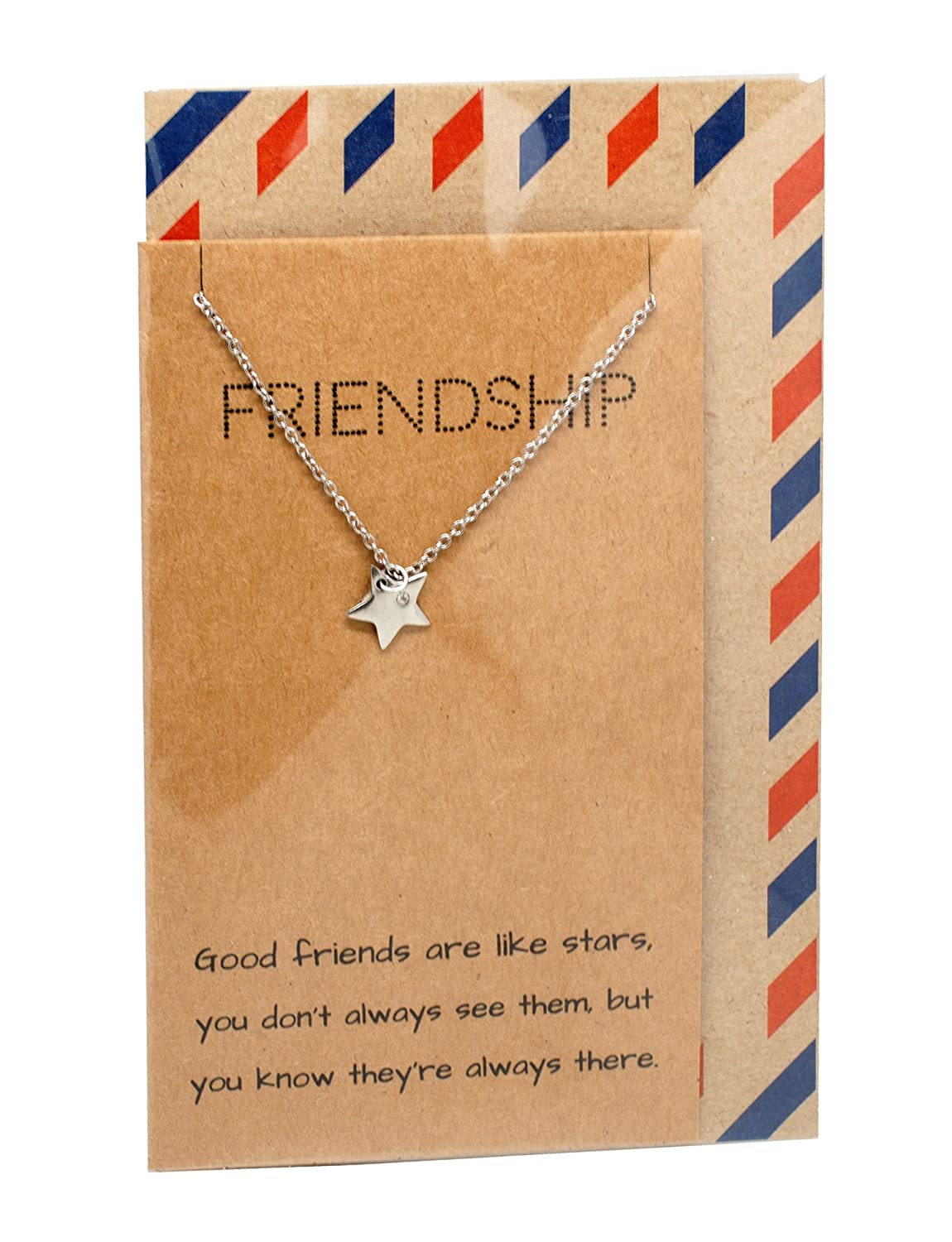 Quan Jewelry Star Pendant Necklace Gifts For Best Friends Teens Girls Bff Friendship Necklace Presentable Thank You Birthday Greeting Card