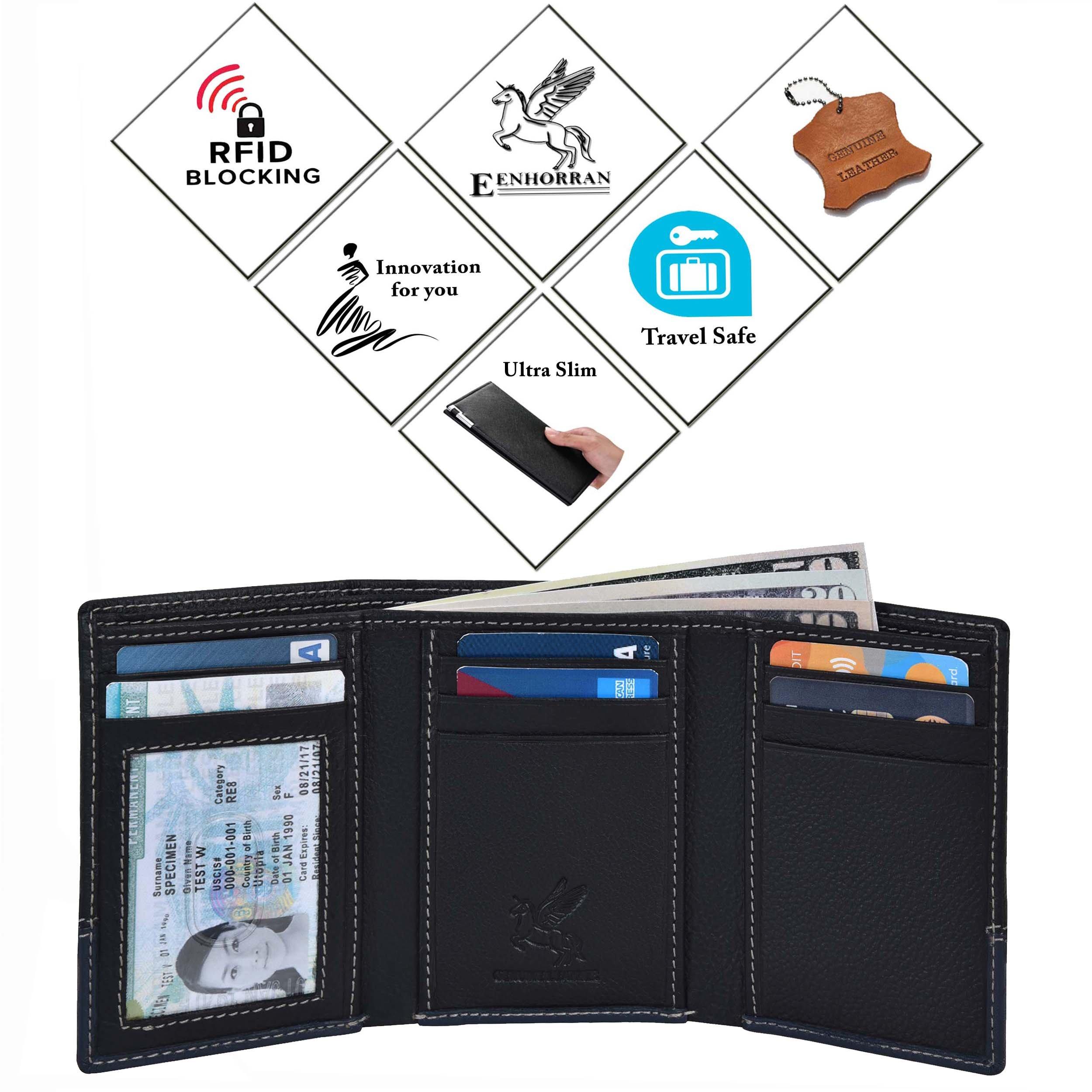 RFID Leather Trifold Wallets for Men - Handmade Slim Mens Wallet 6 Credit Card ID Window and Gift Box Secure by EENHORRAN (Black & Navy) by EENHORRAN (Image #7)