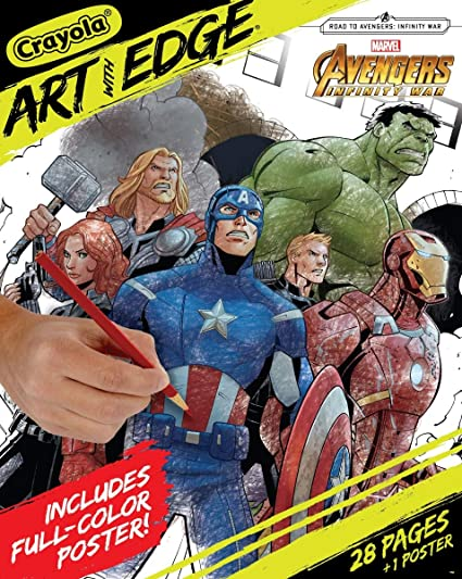 Crayola Marvel Avengers Coloring Pages, Infinity War, Art With Edge Adult  Coloring, 28 Pages + 1 Poster